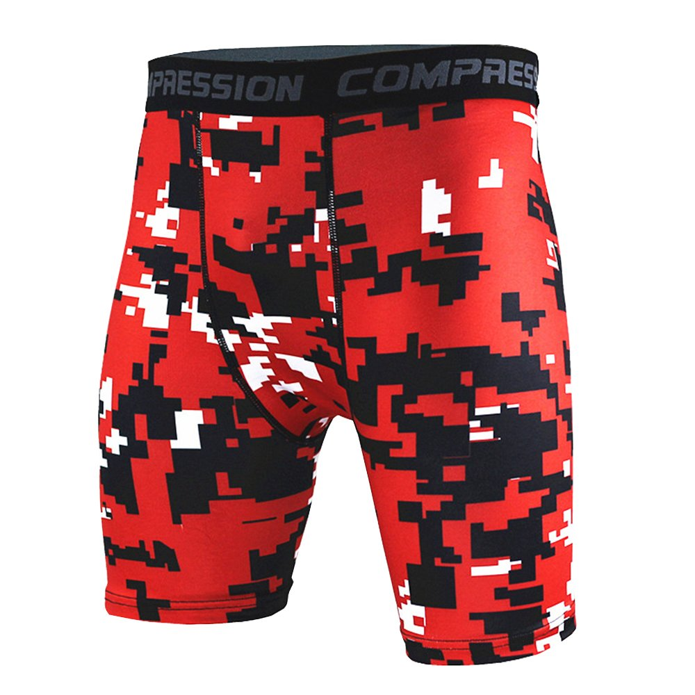 1Bests Men Camo Compression Tight Shorts Quick-Drying Running Fitness Underpants