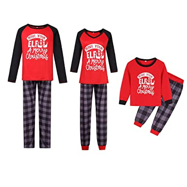 Matching Family Sleepwear Christmas ELF Printing Letters Pajamas Set with  Green Striped Pants A22 at Amazon Women s Clothing store  082f71d63