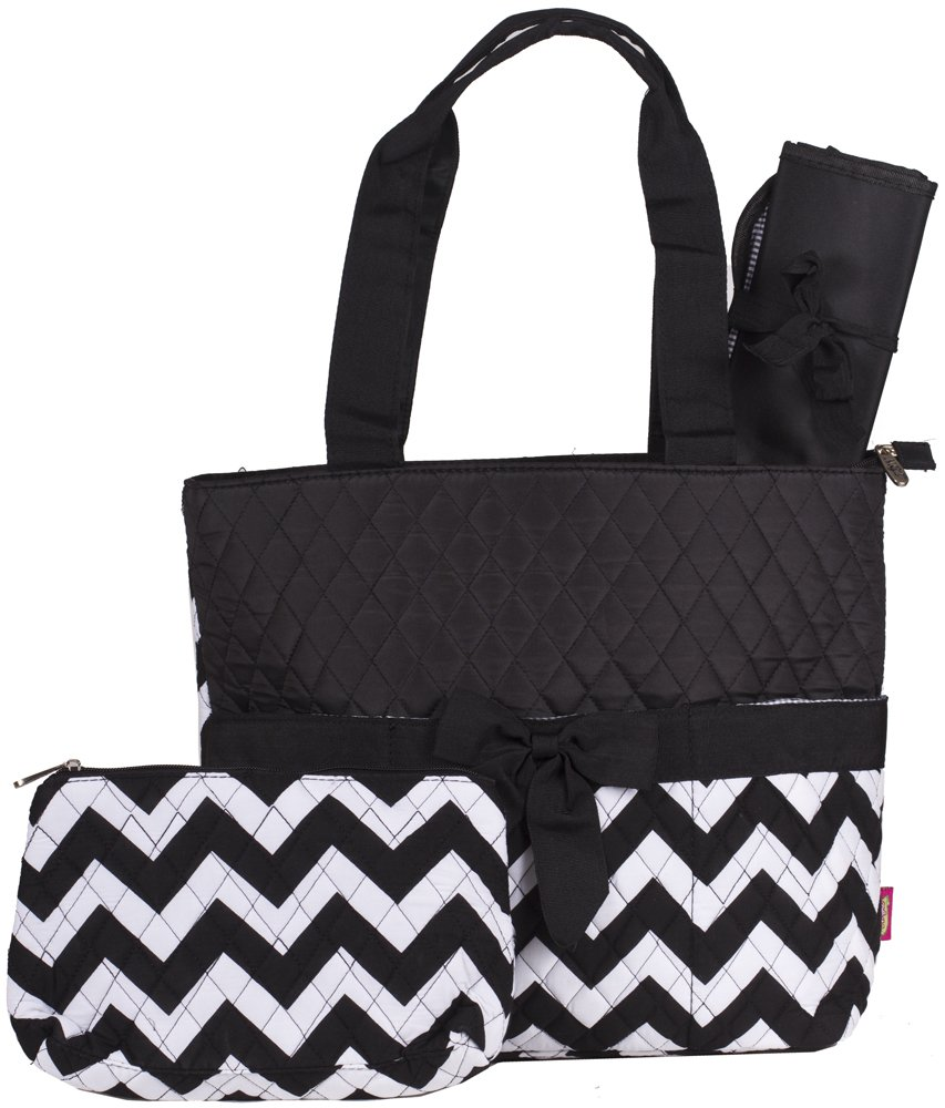 Pink Brown Monkey Quilted Diaper Bag with Changing Pad and Accessory Case - 3 Piece by NGIL B00L9CYGCQ Chevron - Black Chevron - Black