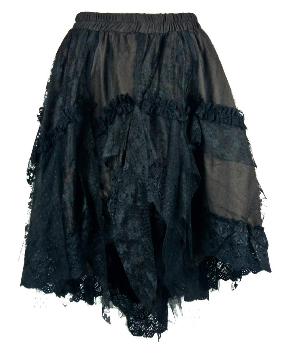 Horror-Shop Falda De Encaje Victoriana Marrón M/L