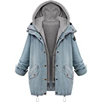 WILLTOO Clearance! Women Winter Coat Denim Hooded Coat Parka Outwear 2Pcs Set