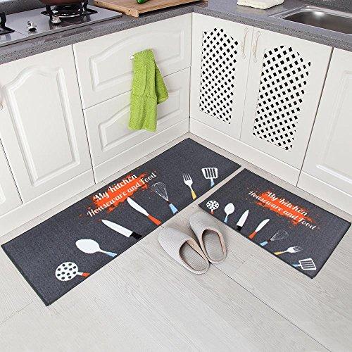 Carvapet 2 Piece Non-Slip Kitchen Mat Rubber Backing Doormat Runner Rug Set, Kitchenware Design (Grey 15″x47″+15″x23″)