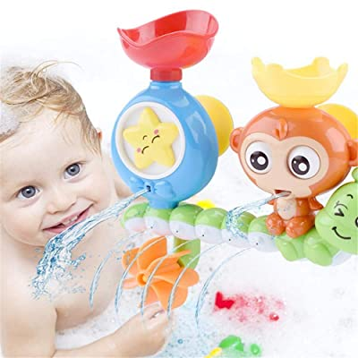 WE&ZHE Bath Toys Bathtub Toys for 2 3 4 Year Old Kids Toddlers Bath Wall Toy,Waterfall Fill Spin and Flow Non Toxic,Gifts for Toddlers Boys Girls: Home & Kitchen