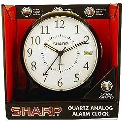 Sharp Quartz Analog Alarm Clock, Black
