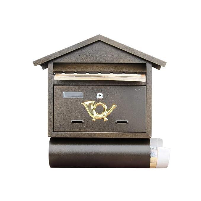 YYH Villa Carta Caja Al Aire Libre De Hierro Forjado Colgando De La Pared Caja De Periódico Bar Creativo Sugerencia Café Caja De Poste De La Pared Retro ...