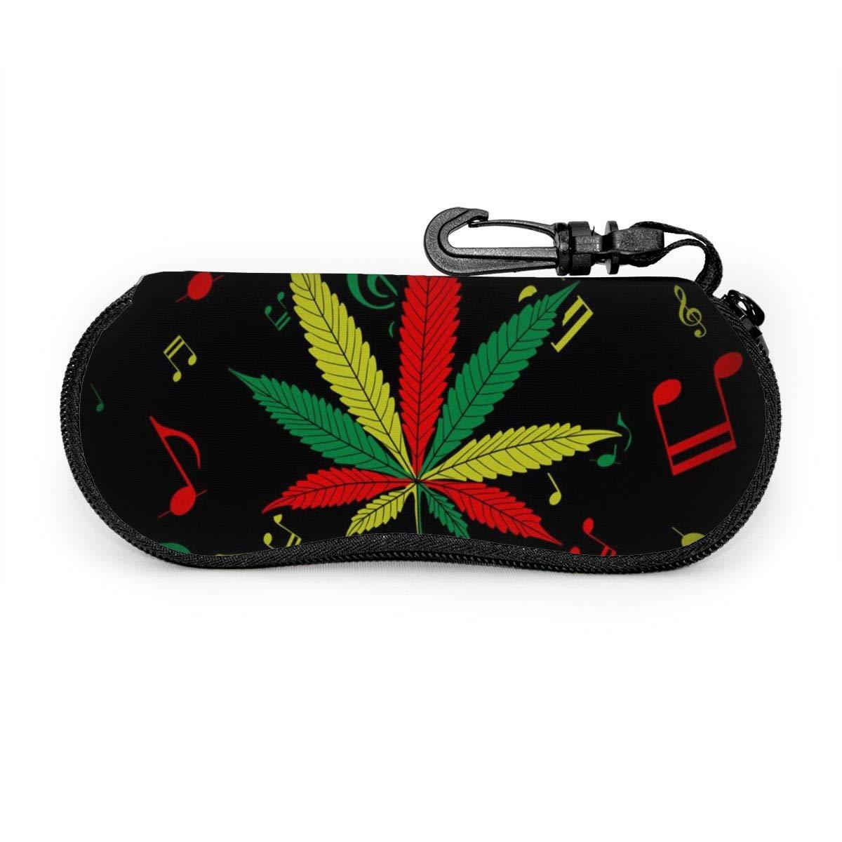 Colorful Music Marijuana Portable Travel Sunglasses Cases Ultra Light Neoprene Zipper Glasses Case With Carabiner