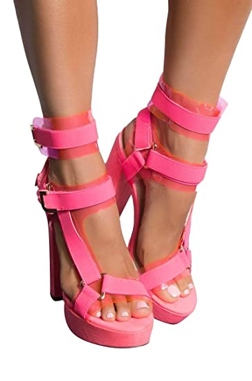 5800d7c752a AKIRA Women's PVC Utility Buckle Strappy Chunky Super High Heel Platform  Pleaser Sandals