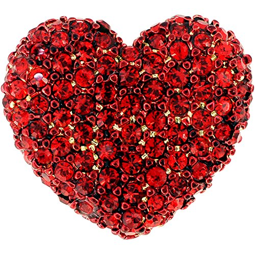 Red Heart Valentines Crystal Lapel Pin (Heart Rhinestone Pin)