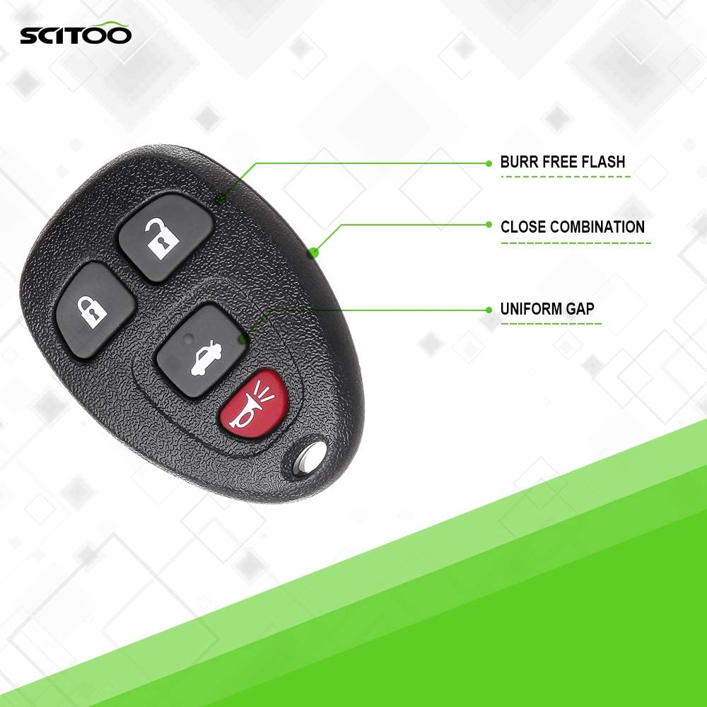 SCITOO Compatible with Keyless Shell Fob 2 New Replacement Keyless Entry Remote Key Fob Shell Case 4 Buttons 04-16 Chevrolet Impala Buick Lucerne Cadillac DTS OUC60221