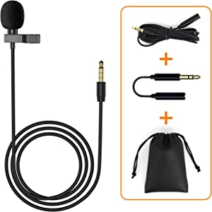 Lavalier Lapel Microphone, Omnidirectional Mic Compatible with Desktop PC Computer, Mac, Smartphone, iPhone, GoPro, DSLR, Camcorder for Podcast, YouTube, Vlogging, and DJs