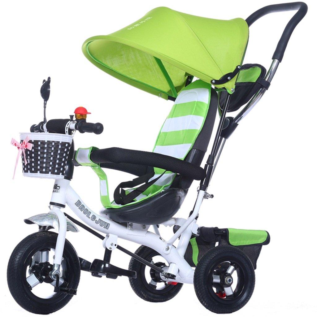 KANGR-子ども用自転車 多機能4-in-1チャイルド三輪車キッドトロリープッシュハンドルステーラー自転車折り畳み式抗UV日よけ| 1-3-6歳の少年少女と赤ちゃんのおもちゃ|ブレーキ付3輪バイク|グリーン ( 色 : B型 bがた ) B07C9SYS66 B型 bがた B型 bがた