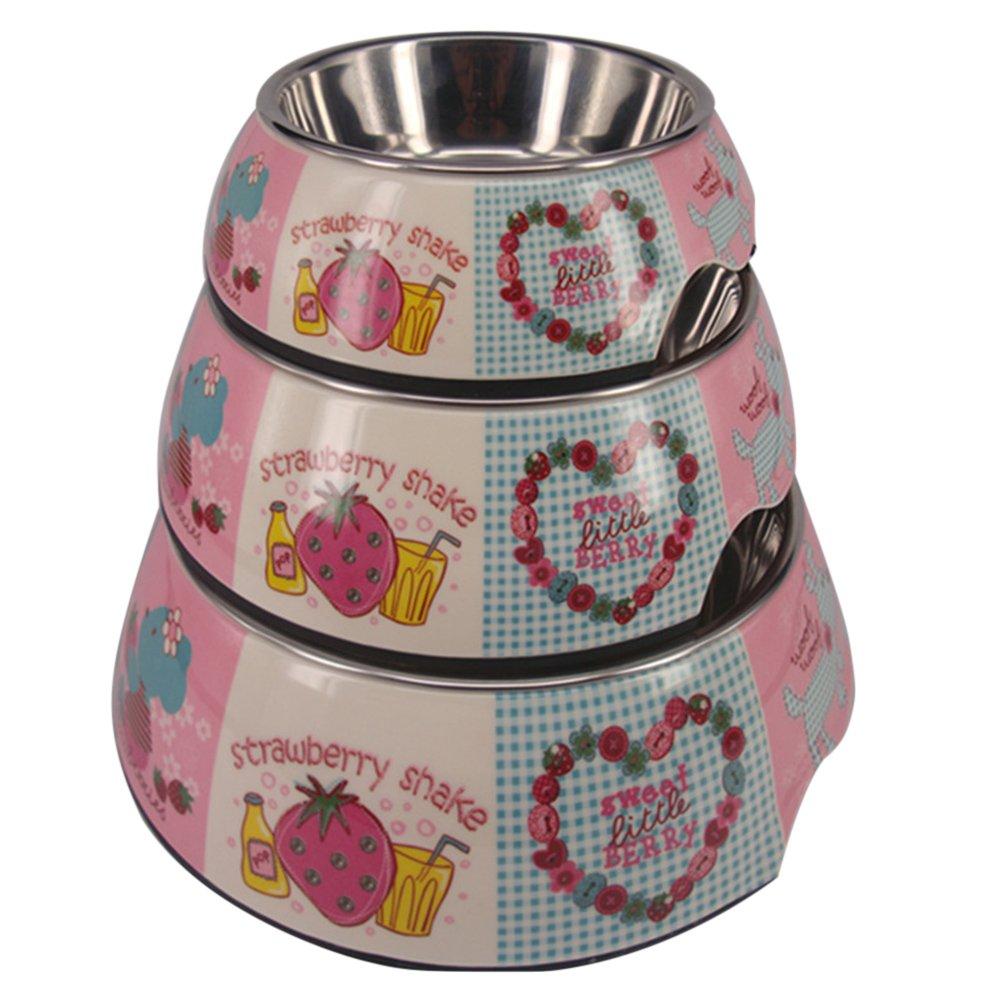 Quno Cute Cartoon Animal Fruit Pattern Melamine Stainless Steel Dog Cat Pet Food Water Bowls Set of 3