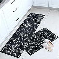 Non-Slip Mat Kitchen Bathroom Door Carpet Floor Rug PVC Waterproof Anti-Oil Indoor Home (45cm*75cm, Black Kitchen)