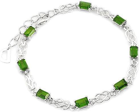 Chrome Diopside silver Bracelet Russian diopside sterling silver bead braceletsterling silver bead braceletgreen gem Silver bead bracelet
