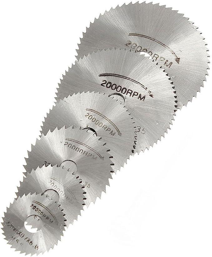 Origlam Mandrin rotatif 6 lames pour scie circulaire Disques de coupe Outil rotatif pour perceuses Dremel Coupe de bois