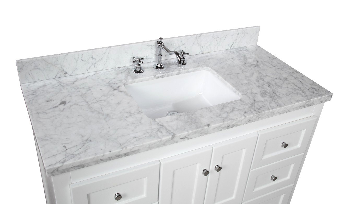 Abbey kitchens and bathrooms - Kitchen Bath Collection Kbc388wtcarr Abbey Bathroom Vanity With Marble Countertop Cabinet With Soft Close Function And Undermount Ceramic Sink