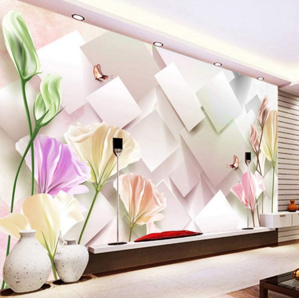 3D Decorations Wall Murals Wallpaper Stickers Modern Fashion Tulip Flower Living Room Bedroom Background Art Girls Tv (W)140X(H)100Cm 6148kP4ZZ7L