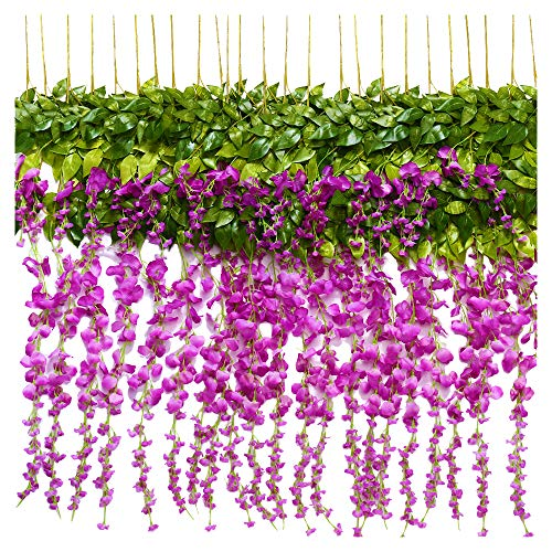 TRvancat Artificial Wisteria Hanging Vine 12 Pack 3.6FT/pcs, Fake Silk Flowers in Natural Chain Garland for Outdoor Wedding Ceremony Arch Party Home Garden Decor (Purple 2) from TRvancat