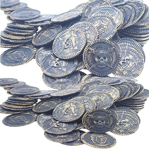 Ghost Ship Pirate Treasure Costume (100 Pcs Pirate Treasure Coins Toy Coins for Kids Party Supplies Props Decoration (Bronze))