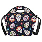 Feddiy Mexican Sugar Skull Insulated Lunch Tote Bag Reusable Neoprene Cooler 11.4(29cm) X 11.4(29cm) X 6.3(16cm), Day of the Dead Portable Lunchbox Handbag with Shoulder Strap