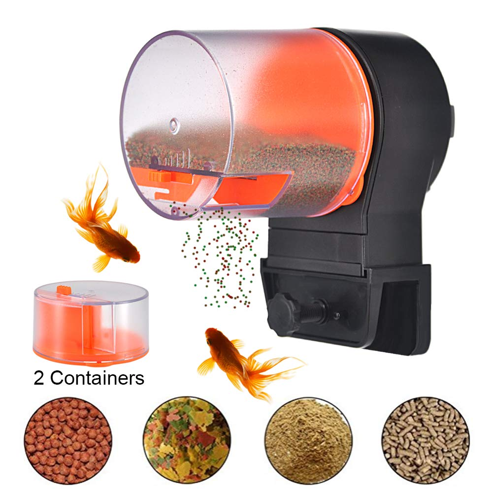 Mylivell Automatic Fish Feeder,Aquarium Tank Timer Feeder Vacation Auto Fish Feeder Battery-Operated Automatic Turtle/Gold Fish Weekend Holiday 2 Fish Food Dispensers by Mylivell