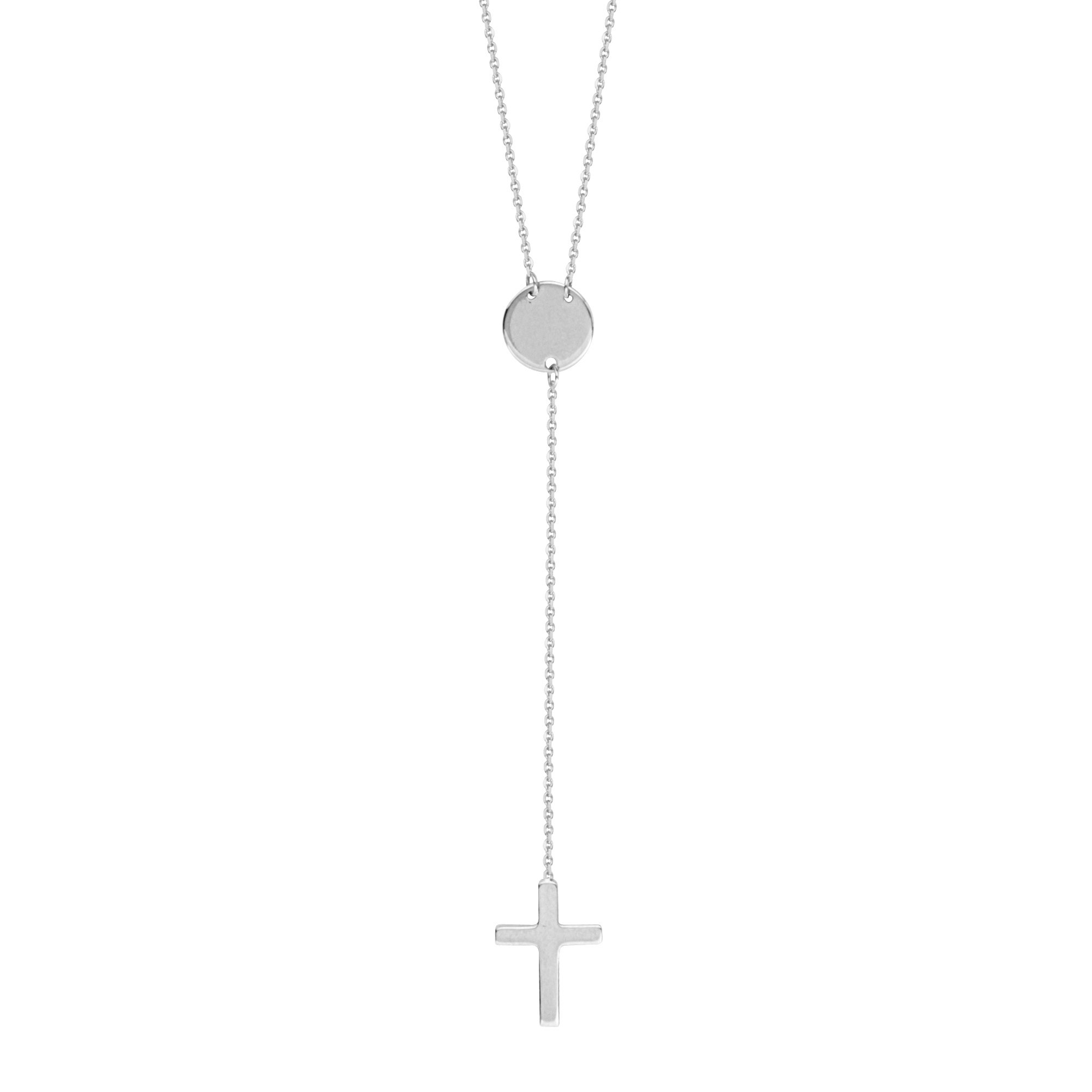 Disk and Cross Drop Necklace Lariat Style 14k White Gold Adjustable Length by AzureBella Jewelry