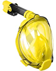 WSTOO Full Face Snorkeling Mask,Newest Upgrade 180 Panoramic Foldable Snorkeling Mask, Anti-fog Anti-leak with Detachable Camera Mount for Adult and Kids Safety Snorkeling