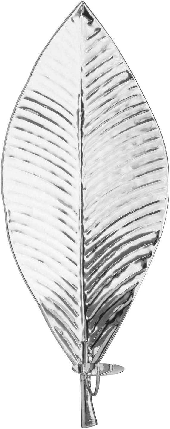 Hill 1975 Large Silver Leaf Wall Hanging Candle Holder, Metal, Multi-Colour, One Size