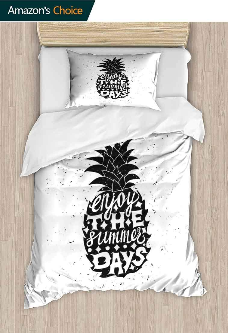 Tropical DIY Duvet Cover and Pillowcase Set, Motivational Slogan on a Exotic Pineapple Indigenous Hawaiian Fruit Pattern, Reversible Coverlet, Bedspread, Gifts for Girls Women, 71 W x 79 L Inches