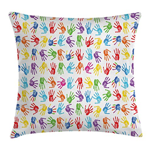 Ambesonne Colorful Decor Throw Pillow Cushion Cover, Human Handprint Kids Watercolor Paint Effect Open Palms Collage Art Work Print, Decorative Square Accent Pillow Case, 18 X 18 Inches, ()