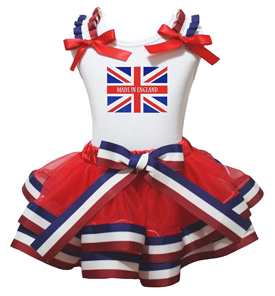 Petitebella Made in England Union Jack White Cotton Shirt Petal Skirt Set Nb-8y