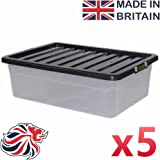 CrazyGadget® 32L 32 Litre Large Underbed Plastic Storage Clear Box Strong Stackable Container - Made In U.K. - Pack of 5