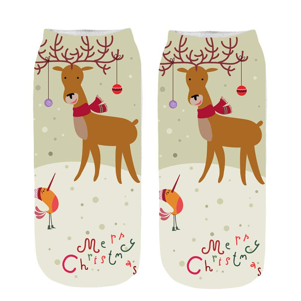 Clearance! Socks For Girls 6-8 Years,Unisex Christmas Funny 3D Printed Socks Cute Low Cut Ankle Socks,
