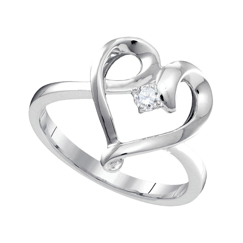 10kt White Gold Womens Round Diamond Heart Love Promise Bridal Ring 1/20 Cttw (I2-I3 clarity; J-K color)