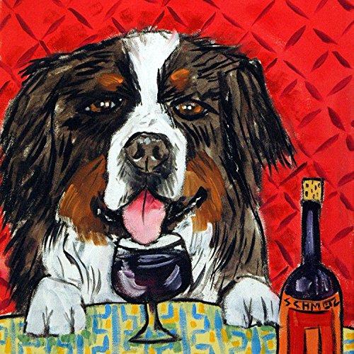 (Bernese Mountain Dog at the Wine Bar dog art tile coaster gift)