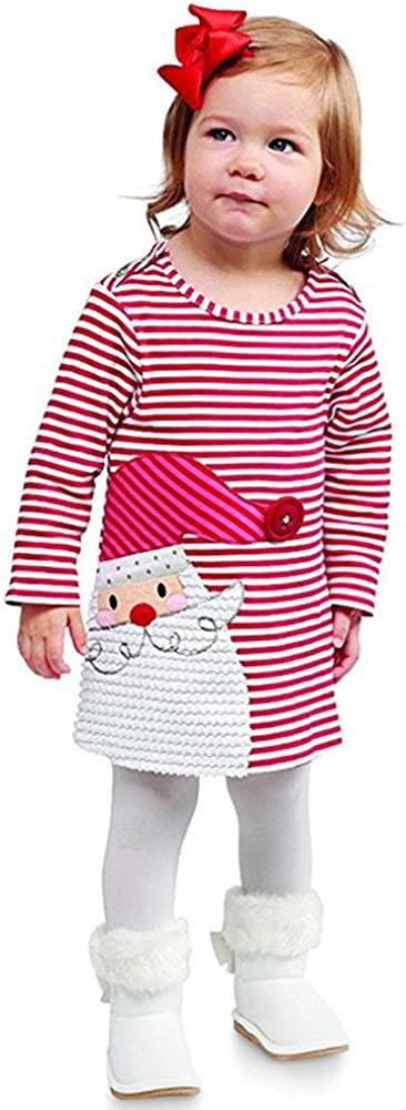 Toddler Kids Baby Girl Santa Striped Princess Dress Christmas Clothes Winter Autumn Outfits Gifts