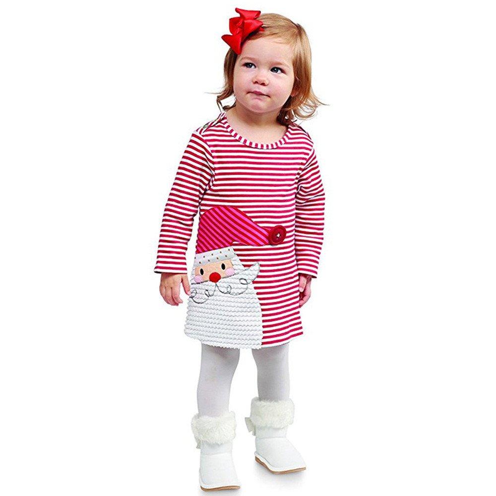 Mbby Abito Bambina Natale 1-6 Anni Ragazze Bambino Vestiti Manica Lunga A Righe Cotone Invernale Autunno
