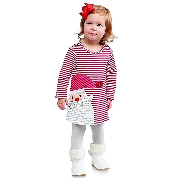ODJOY-FAN Babbo Natale Ragazza nuovo anno banda stampa vestito-Bambini Abiti  Per Bambini Bambino Baby Girls T-shirt di Garza Arcobaleno Tutu Vestito da  ... af9ffb7db24