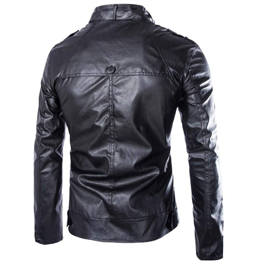 Allywit Mens Vintage Stand Collar Pu Leather Warm Jacket Motorcycle Outwear Jacket