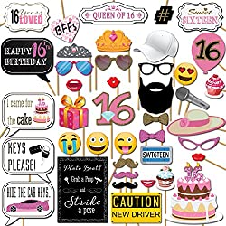 Sweet 16 Birthday Photo Booth Props Party Kit, 41 Pieces with Wooden Sticks and Strike a Pose Sign by Outside the Booth