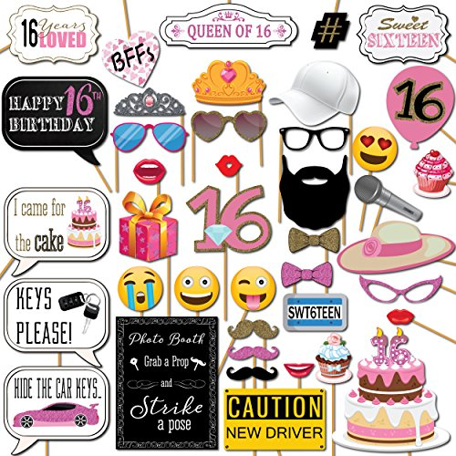Sweet 16 Parties (Sweet 16 Photo Booth Props Party Kit 41 Pieces with Wooden Sticks and Strike a Pose Sign by Outside The)