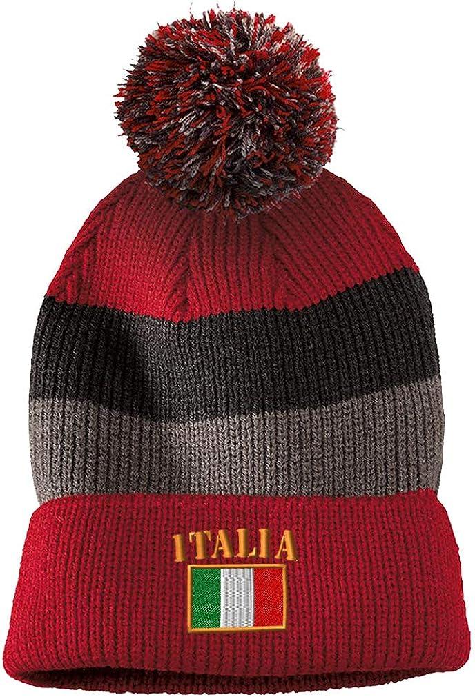 Custom Pom Pom Beanie Italy Italian B Embroidery Acrylic
