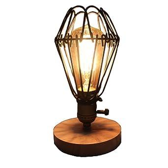 FSLiving Industriekäfig Schreibtisch Licht Vintage Style Beleuchtung  Stahlrohr Tischlampe Retro Holz Basis Beleuchtung Leuchten (Glühbirnen