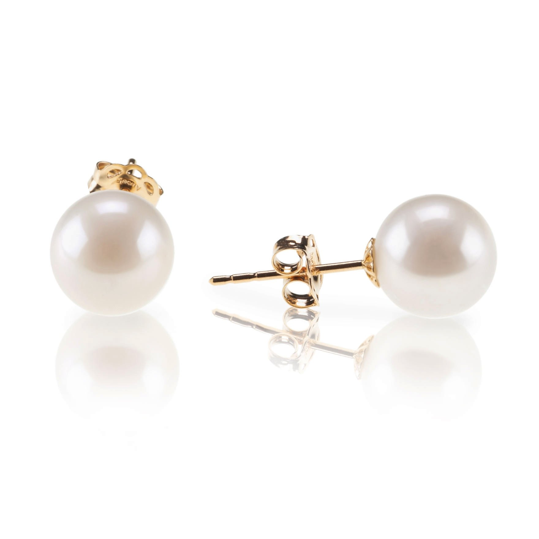 PAVOI 18K Yellow Gold Plated Sterling Silver Round Stud White Simulated Shell Pearl Earrings - 8mm by PAVOI