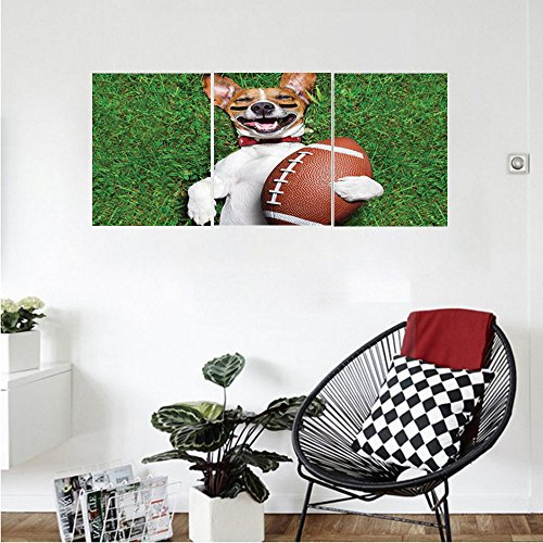 Liguo88 Custom canvas Sports Decor Collection Soccer Dog Holding A Rugby Ball And Laughing Out Loud Funny Comic Joke Bedroom Living Room Wall (Home Rugby Shirt Collection)