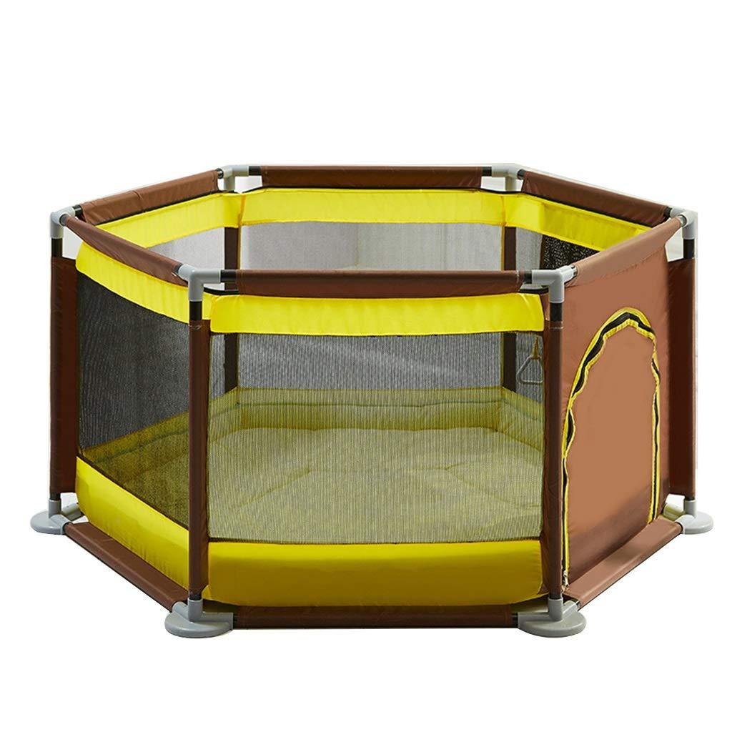 子供用プレイフェンス屋内防護柵マウサーオーシャンボールプールゲームプレイサークル室内遊び場キッズギフト (Color : Brown, Size : Fence+cotton mat) Fence+cotton mat Brown B07P2M28DP