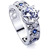Sterling Silver 2ct Octagon Cut CZ Simulated Blue Sapphire CZ Accent Engagement Ring ( Size 5 to 9 )