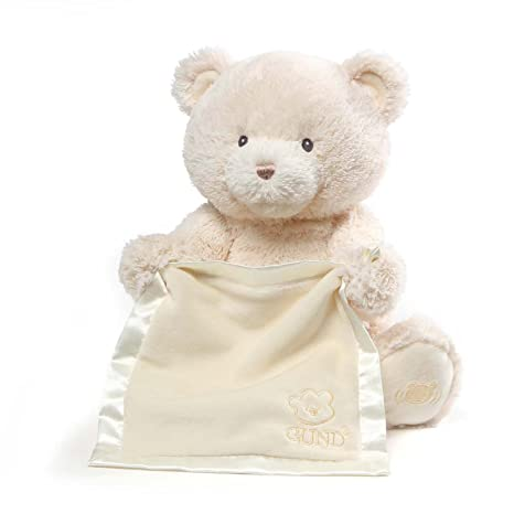 7dbb55768a818 Amazon.com: Baby GUND My First Teddy Bear Peek A Boo Animated Stuffed  Animal Plush, Cream, 11.5