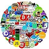 Laptop Stickers Pack for Developer 72pcs Programming Vinyls Graffiti Stickers of IT Logo Cool Languages Series Logo,Developer Programmer Decoration,C# C++,Python,JS Java,Engineers Software