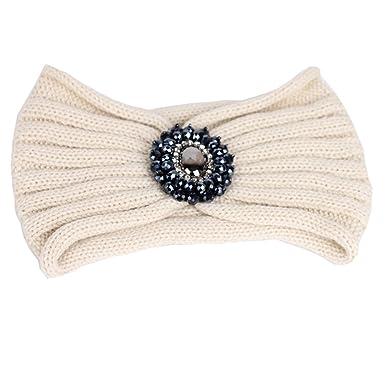 TININNA Serre-Tête Bandeau Bande de Cheveux Laine Tricoté Turban Elastique  Couvre-Oreille Head Wrap Chapeaux avec des Pierres pour Femme Fille Beige   ... 4e9c9b96b5d